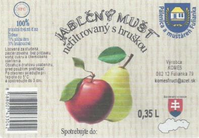 Jablčný mušt - nefiltrovaný s hruškou 5L
