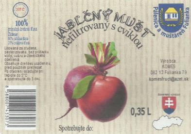 Jablčný mušt - nefiltrovaný s cviklou 0,35L