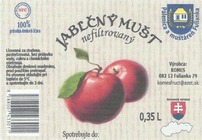 Jablčný mušt - nefiltrovaný 10L